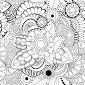 Vektorové bezproblémové abstraktní monochromatický doodle květin a vlnu