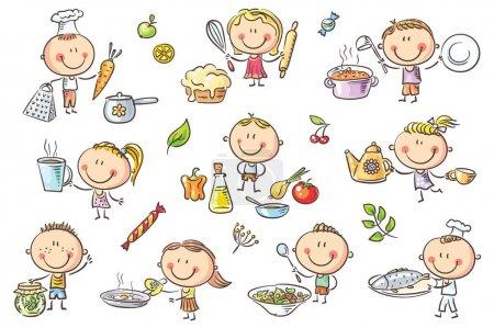 Illustration pour Un mini Sommaire set ot, drôle, cuisson des différents aliments. - image libre de droit