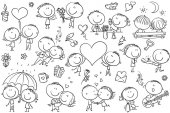 Happy cartoon couples in love Valentine's Day set