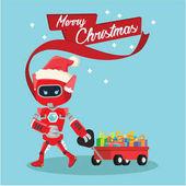 female robot pulling cart full of christmas box
