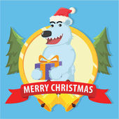 polar bear with christmas present in emblem