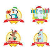 animal photo cristmas cartoon set