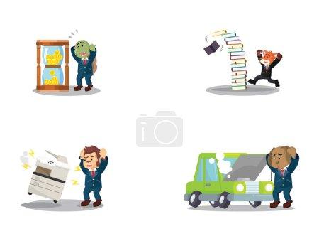 business panic cartoon set