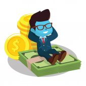 blue businessman laying on money