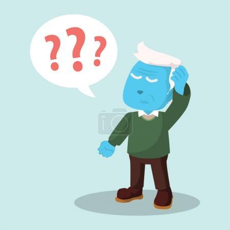 Illustration for Blue old man confused - Royalty Free Image