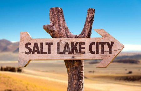 salt lake city wooden signpost