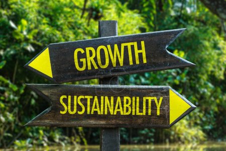 Growth vs Sustainability wooden roadsign