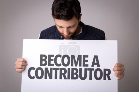 Paper with sign become contributor