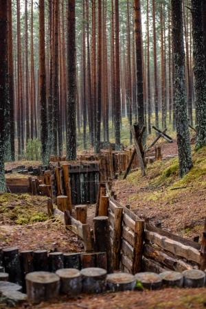 old wooden trenshes in Latvia
