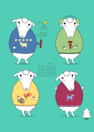 Foto de Dibujos animados de ovejas blancas con coloridos jerseys y años nuevos atributos - petard, cookiy, abeto, orejeras. Patrones de horoscopo chino - gallo, mono, perro, ovejas. Ilustración - Imagen libre de derechos