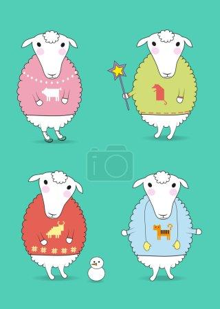 Foto de Dibujos animados de ovejas blancas con jerseys coloridos y festivos invierno atributos - patines, varita mágica, manoplas, muñeco de nieve. Patrones de horoscopo chino - cerdo, rata, tigre y caw. Ilustración - Imagen libre de derechos