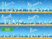 Travel cards Artistic font Summer beach White houses on the coast Plane in the sky I love to travel We want to travel Beach time Happy sea time Hello holidays Bon voyage Vector illustration