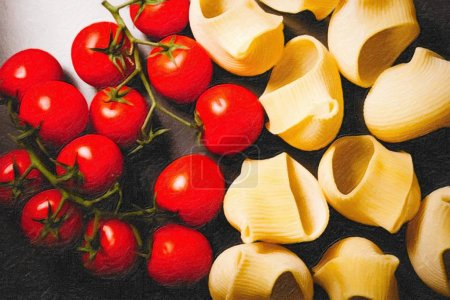 Photo pour Image de style peinture à l'huile de pâtes séchées italiennes aux tomates - image libre de droit