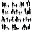 Family with children set silhouette in black color...