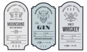 Set of intage bottle label design with ethnic elements in thin line style