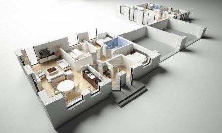 Photo pour 3d rendu de maison meublée appartement - image libre de droit
