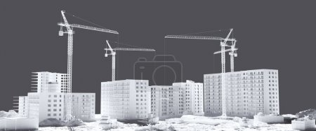 Photo for Construction houses black and white - Royalty Free Image