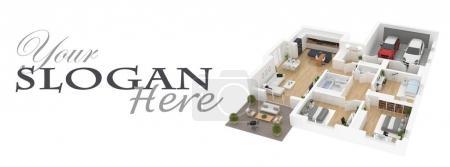 Photo pour Plan d'étage d'une maison vue de dessus Illustration 3D . - image libre de droit