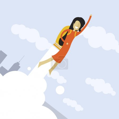 Happy businesswoman flying on jetpacks to his goal.