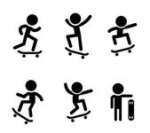 Skateboarders icons in vector design