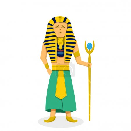 King Pharaoh on white in flat style, vector design...