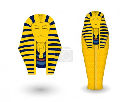 Pharaoh coffin and mask on white, vector design...