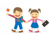 Down syndrome boy and girl go to school vector