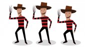 Man in Freddy Krueger costume in vector design
