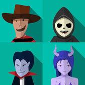 Set of people in Halloween costume vector portrait