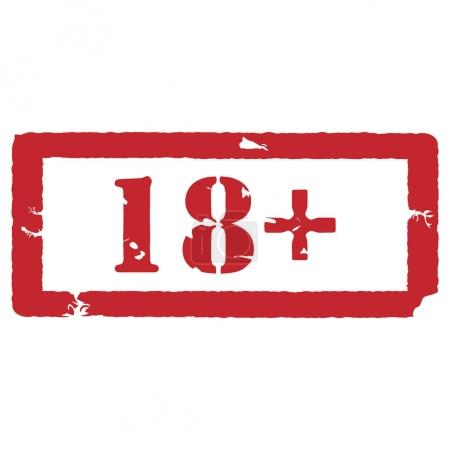 Photo for Raster illustration rectangle red under 18 eighteen stop sign. 18 plus age restriction stamp - Royalty Free Image