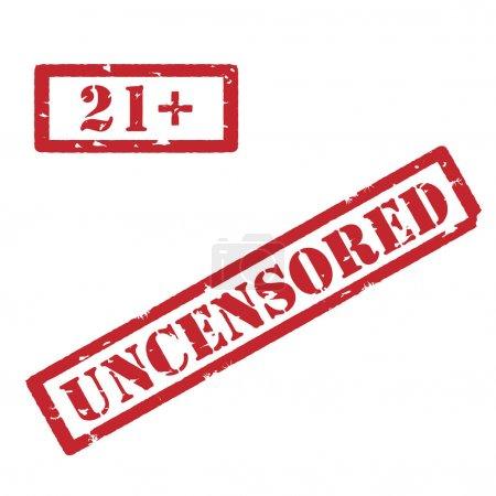 Photo pour Raster illustration rectangle rouge moins 21 vingt et un panneau d'arrêt. timbre de 18 ans de restriction. Timbre non censuré - image libre de droit