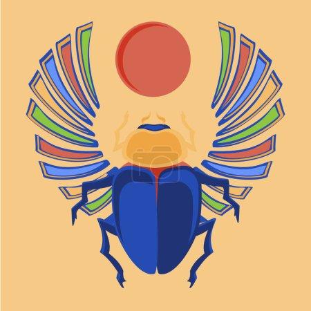 Photo pour Coléoptère raster illustration scarabée égyptien. Icônes égyptiens. L'Egyptien sacré bug un scarabée, un symbole du soleil coloré - image libre de droit