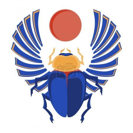 Photo pour Illustration raster scarabée égyptien. Icônes égyptiennes. bug sacré égyptien un scarabée un symbole du soleil - image libre de droit