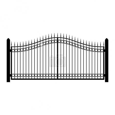 Photo for Raster illustration wrought-iron fence. Old metal fence or gate. Gate silhouette. Modern forged gates - Royalty Free Image