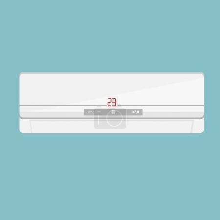 Photo pour Illustration raster climatiseur réaliste isolé sur fond bleu. Icône climatiseur. Climatiseur au mur - image libre de droit