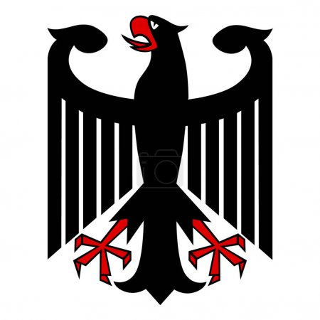 Photo pour Raster illustration allemande blason aigle isolé sur fond blanc. Symbole allemand, signe - image libre de droit