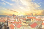 Beautiful view of the Old Town Square, and Tyn Church and St. Vitus Cathedral in Prague, Czech Republic