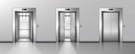 Open and closed elevator doors in office hallway. ...