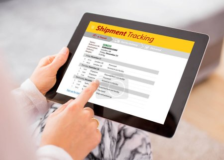 Person tracking shipment on tablet