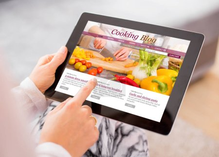 Photo for Cooking blog on tablet - Royalty Free Image