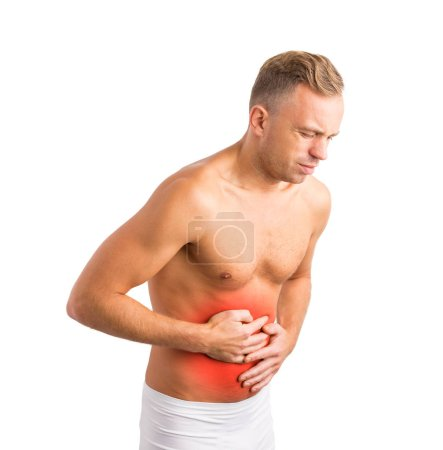 Man holding his hurting stomach