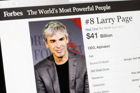 Photo for RIGA, LATVIA - February 24, 2017: Forbes Magazine list of The Worlds Most Powerful People.Number 8 the CEO of AlphabetLarry Page. - Royalty Free Image