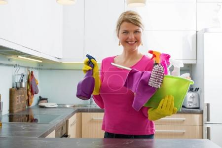 Woman getting ready for spring cleaning...