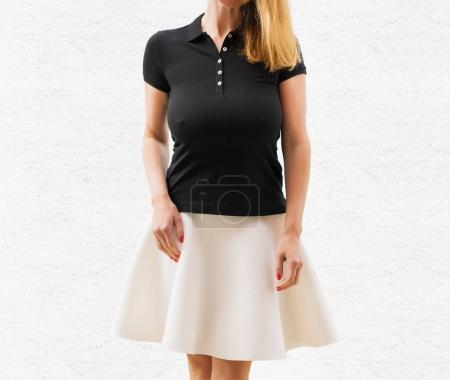 Woman's black polo shirt template