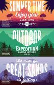 Vector summer mountains and desert adventures banners
