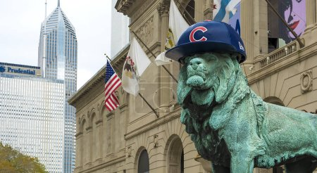 Chicago lion with Cubs hat