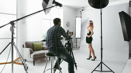 Model posing for a photo shoot