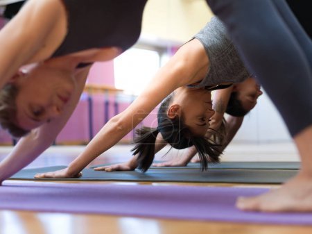 Young women at the yoga class