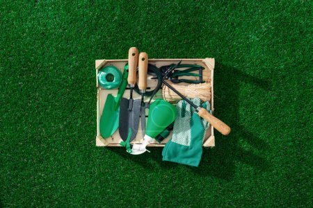Photo for Wooden crate with gardening tools and utensils on a lush green meadow, landscaping and gardening concept - Royalty Free Image
