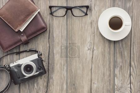 Vintage camera on a desk